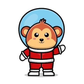 Śliczna astronauta małpa kreskówka ilustracja koncepcja przestrzeni zwierzęcej