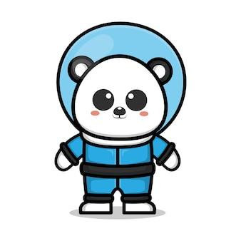 Śliczna astronauta panda kreskówka ilustracja koncepcja przestrzeni zwierzęcej