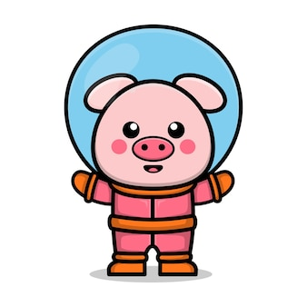 Śliczna astronauta świnia kreskówka ilustracja koncepcja przestrzeni zwierzęcej