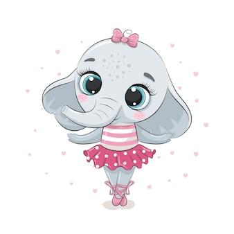 Śliczna balerina dla słoniątka w różowej spódnicy. ilustracja na chrzciny, kartkę z życzeniami, zaproszenie na przyjęcie, nadruk koszulki z modnymi ubraniami.