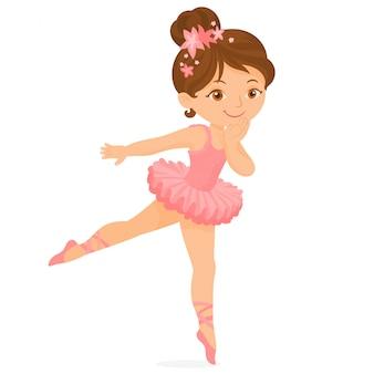 Śliczna balerina w różowej spódniczce baletnicy