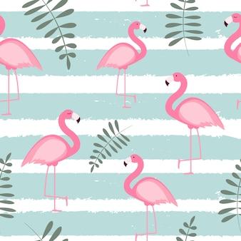 Śliczna bezszwowa flaminga wzoru ilustracja