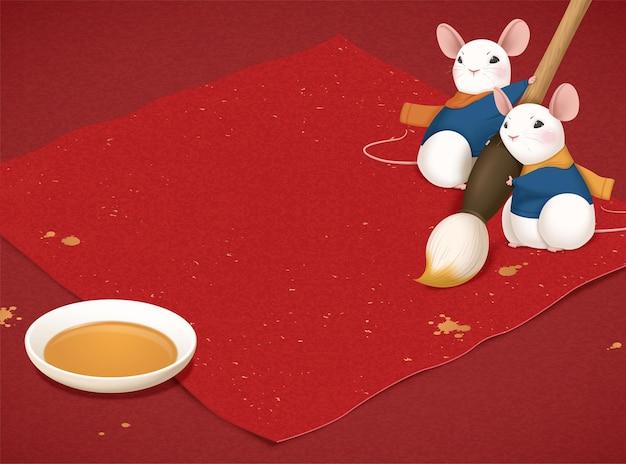 Śliczna biała mysz jest gotowa do pisania kaligrafii roku księżycowego za pomocą pędzelka na czerwonym tle