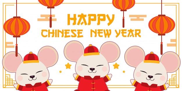 Śliczna biała mysz nosi chiński strój na białym