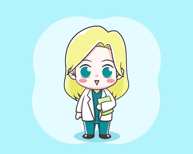 Śliczna blond kobieta lekarz kreskówka na jasnoniebieskim tle