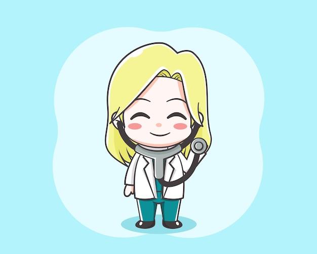 Śliczna blond kobieta lekarz kreskówka trzymając stetofon na jasnoniebieskim tle
