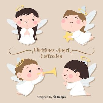 Śliczna boże narodzenie anioła kolekcja w płaskim projekcie