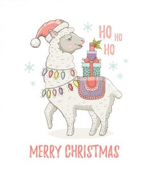 Śliczna bożonarodzeniowa lama alpagowa w santa hat. do nadruku z życzeniami lub nadrukiem na koszulce.