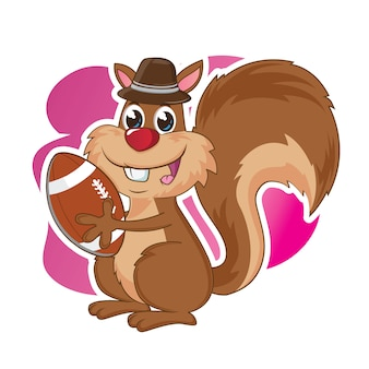 Śliczna brązowa wiewiórka z kapeluszem
