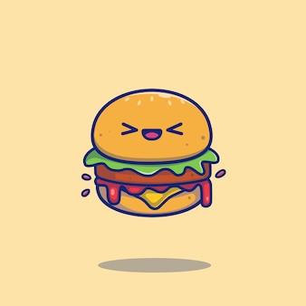Śliczna burger kreskówki ikony ilustracja. ikona jedzenie koncepcja na białym tle. płaski styl kreskówek