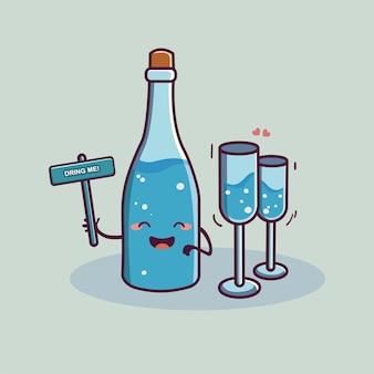 Śliczna butelka i szklanka wody wektor kreskówka światowy dzień wody
