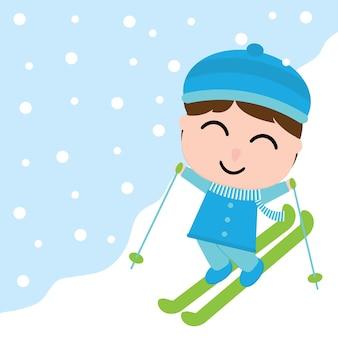 Śliczna chłopiec bawić się nartę na śniegu