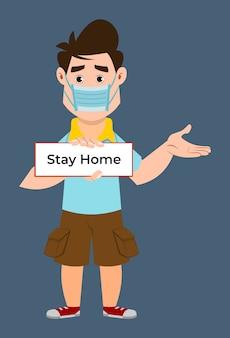 Śliczna chłopiec jest ubranym maskę i rada dla zostawać w domu. koronawirus zapobiega poradom