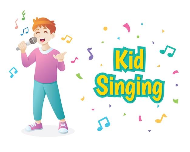 Śliczna chłopiec śpiewa