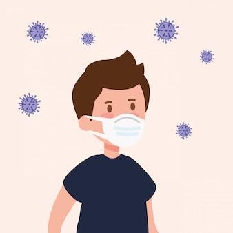 Śliczna chłopiec używa maskę z cząsteczkami covid 19 ilustracyjny projekt