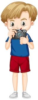 Śliczna chłopiec z kamerą w jego rękach