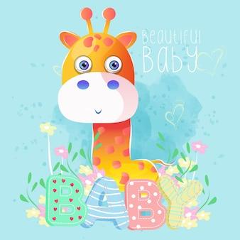 Śliczna chłopiec żyrafa