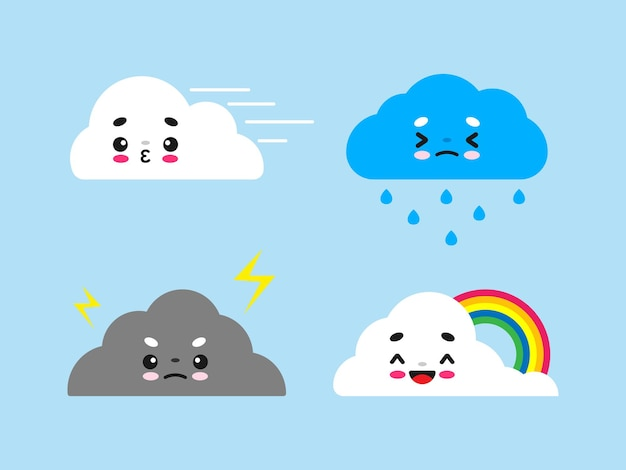 Śliczna chmura płaska chmura kawaii z różnymi emocjami
