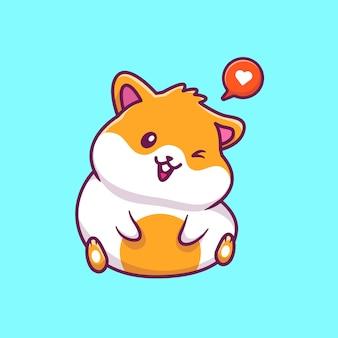 Śliczna chomikowa siedząca ikony ilustracja. postać z kreskówki maskotka chomika. zwierzęcy ikony pojęcia biel odizolowywający