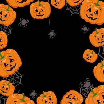 Śliczna ciemna ramka z dyniami, pajęczynami i pająkami. dekoracja na halloween.