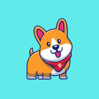 Śliczna corgi uśmiechnięta uśmiechnięta ilustracja. postać z kreskówki maskotka corgi. koncepcja ikona zwierzę na białym tle