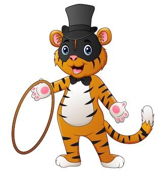 Śliczna cyrkowa tygrysia kreskówka trzyma pierścionek