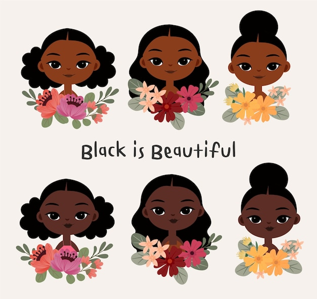 Śliczna czarna kobieta z różnorodnymi fryzurami