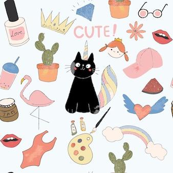 Śliczna czarna kot kreskówka