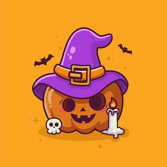Śliczna czarownica dynia halloweenowa kreskówka wektor haloween element kreskówka tło