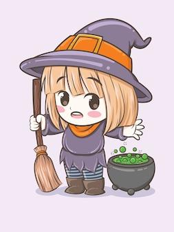 Śliczna czarownica dziewczyna z magiczną miotłą - postać z kreskówki ilustracja na halloween
