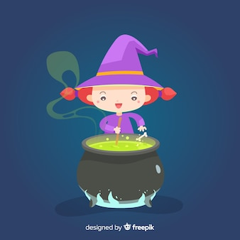 Śliczna czarownica halloween z tyglem