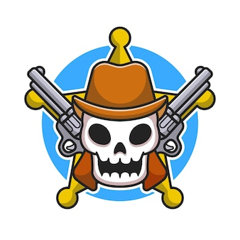 Śliczna czaszka szeryfa z ilustracja kreskówka pistoletu. płaski styl kreskówki