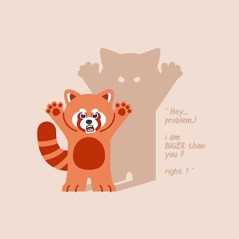Śliczna czerwona panda ilustracja kreskówka z tekstem koncepcji cytat