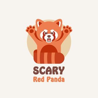Śliczna czerwona panda maskotka ilustracja kreskówka logo
