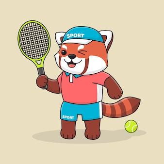 Śliczna czerwona panda tenisowa z kapeluszem