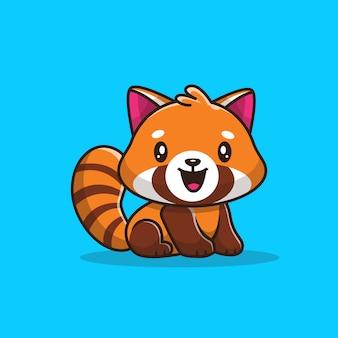 Śliczna czerwona pandy ikony ilustracja. płaski styl kreskówek