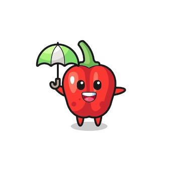 Śliczna czerwona papryka ilustracja trzymająca parasolkę, ładny styl na koszulkę, naklejkę, element logo