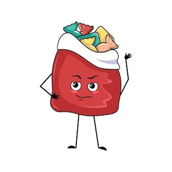 Śliczna czerwona torebka z prezentami noworocznymi z emocjami bohatera, odważną buzią, rękami i nogami. przedmiot wesołych świąt, radosne słodkie jedzenie, pudełko z wyrazem odwagi