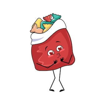 Śliczna czerwona torebka z prezentami noworocznymi zakochuje się w oczach, serduszkach, buzi, ramionach i nogach. przedmiot wesołych świąt, radosne słodkie jedzenie, pudełko z miłym wyrazem, zabawne lub uśmiechnięte emocje