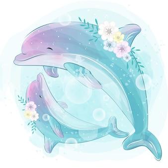 Śliczna delfin matka i dziecko