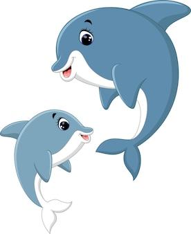 Śliczna delfin pary kreskówka