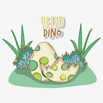Śliczna dino jajka przyroda w krzakach