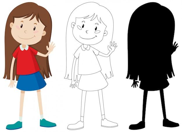 Śliczna długie włosy dziewczyna w kolorze, konturze i sylwetce