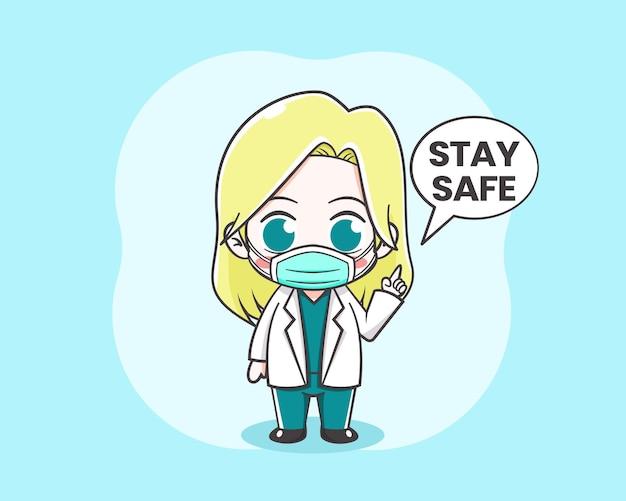 Śliczna doktor dziewczyna ilustracja kreskówka