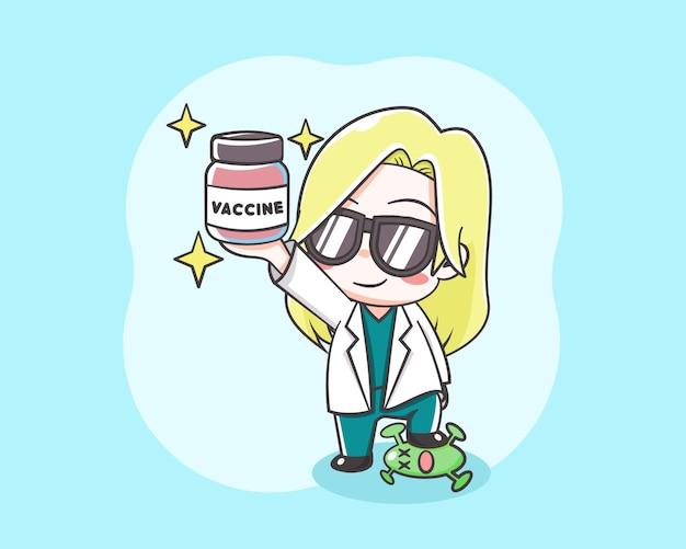Śliczna doktor dziewczyna trzyma ilustrację kreskówki szczepionki