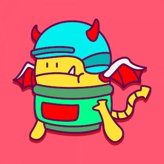 Śliczna doodle potwora projekta ilustracja