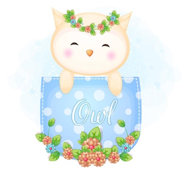 Śliczna doodle sowa w kieszeni