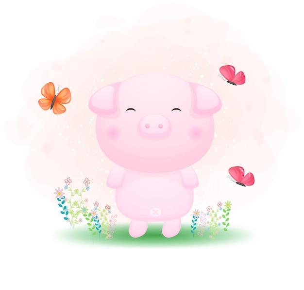 Śliczna doodle świnka bawi się motylem na trawie kreskówki