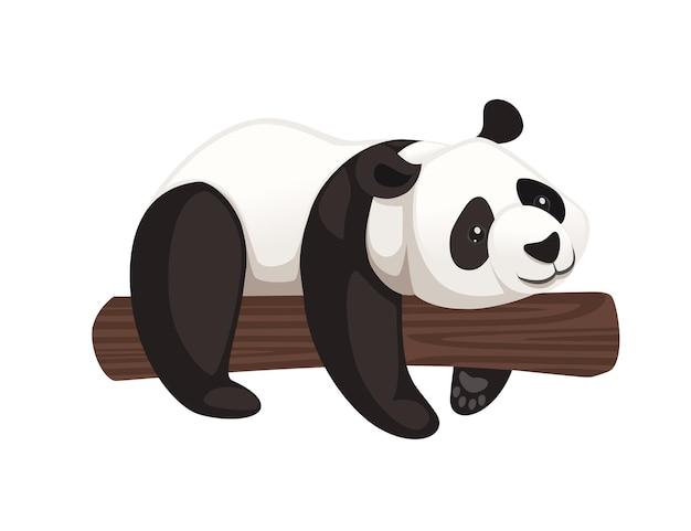 Śliczna duża panda leżąca na pniu drzewa kreskówka projekt płaski wektor ilustracja
