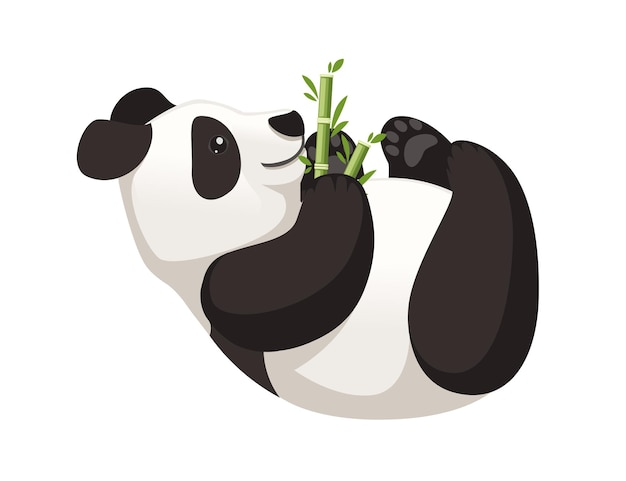 Śliczna duża panda leżąca na podłodze i trzyma bambusową gałąź kreskówka zwierzę projekt płaski ilustracji wektorowych